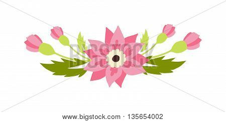 Nature flowers wreath flowers foliage ribbons. Greeting holidays card vector. Flowers vector and wreath vector silhouette. Flat modern style. Flowers and ribbons vector decoration template