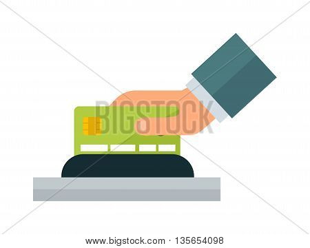 Credit card payment icon vector. Money finance card hand payment credit pay banking cash sign. Hand payment concept shopping, paying symbol retail purchase online customer account transaction.