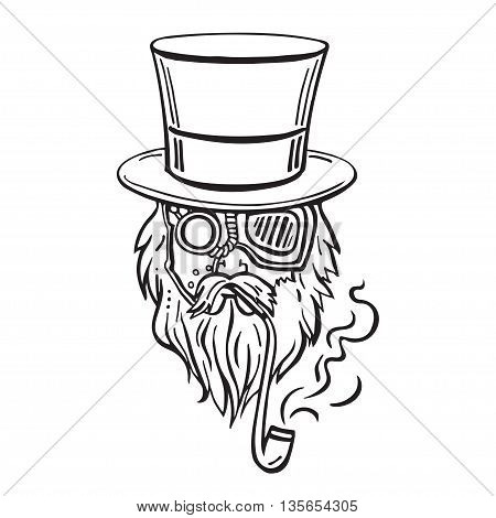 Steampunk old man in top hat and glasses with the beard and moustache and a smoking pipe, retro, vector illustration, man, steampunk, industrial, machine, vintage, sketch, hand drawn