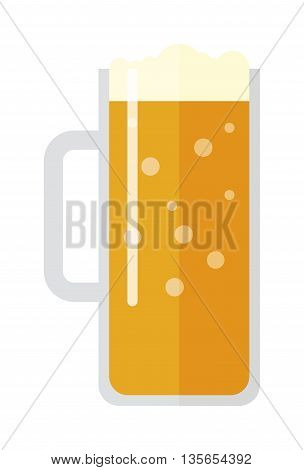 Full glass of light beer isolated on white background. Beer cup alcohol and beer cup lager beverage. Beer cup mug liquid white foam and bubble foam beer cup cold drip refreshment.