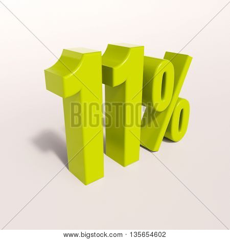 3d render: green 11 percent, percentage discount sign on white, 11%