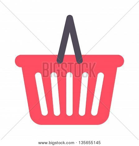 Shopping basket icon vector illustration. Basket icon market retail store buy sale shopping trolley cart. Shopping trolley cart purchase ecommerce basket icon customer purchase symbol.