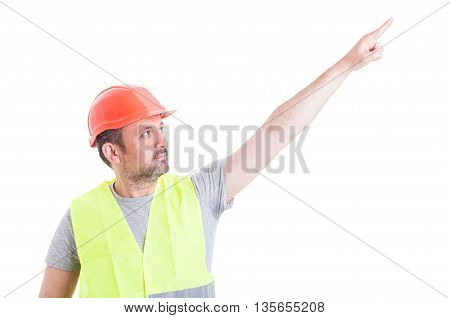 Attractive Constructor Man Pointing Finger Up And Showing Something