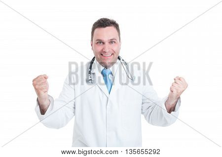 Male Medic Or Doctor Feeling Winner, Enthusiastic And Happy