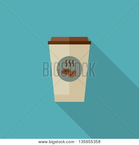 Coffee paper cup with long shadow. Flat illustration of coffee paper cup.
