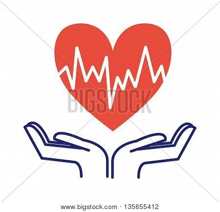 Heart care hand holding heart icon isolated vector symbol. Cardio symbol heartbeat shape heart care. Heart care help people sign. Life cardiology doctor icon. Health symbol medicine concept.