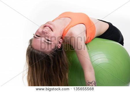 Pretty Woman Exercising Pilates Ball Workout Posture