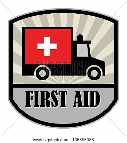 Abstract First Aid label or sign, vector illustration
