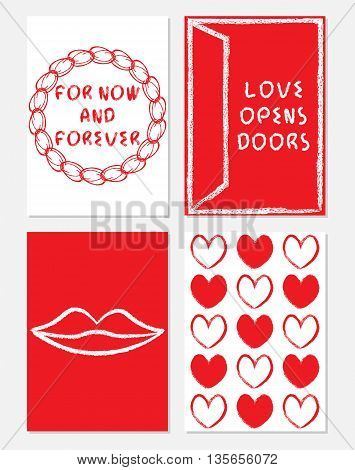 Collection of A4 size template on love theme with hearts lips door lettering in white and red colors grungy style. Love opens doors. For now and forever. Vector set illustrations