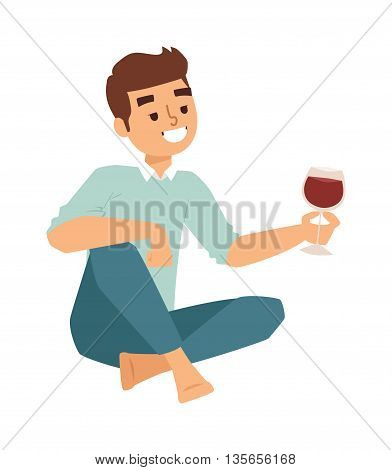 Relaxing man portrait with red wine glass mediterranean ambience. Vector character boy glass wine beverage alcohol romantic outdoors celebration. Young handsome adult boy with glass wine.