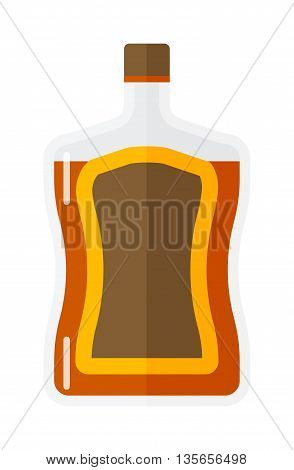 Whiskey bottle shot drink vector whiskey bottle brown drink. Brown whiskey bottle beverage liquor bar cognac amber, drunk ireland flavor. Taste screw scottish cocktail.