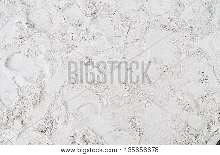 sand footprint background, footprint on Thai beach