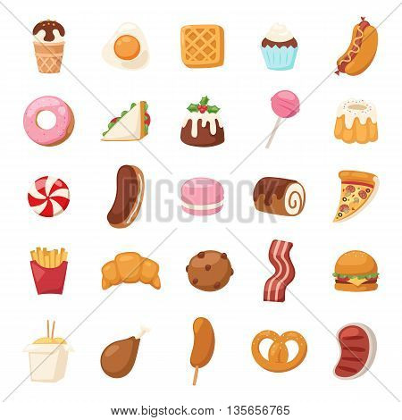Vector food icons and sweet fast food elements. Food icons restaurant bread dinner menu. Cake design food icons kitchen beverage dinner and sweet dessert rolls, croissants. Chinese fast food.