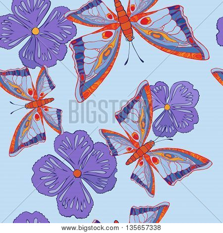 seamless patterns with butterflies and flowers. Vector illustration