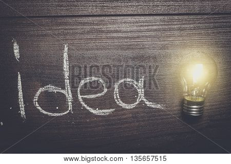 new idea concept on brown wooden background