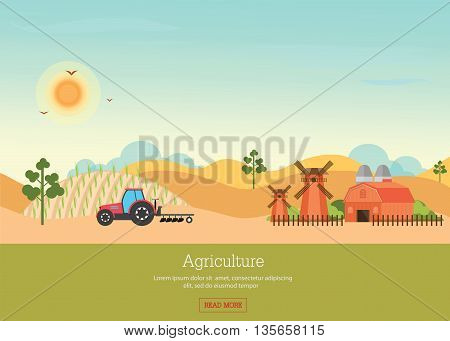 Agriculture with Organic products and farmhouse on rural landscape agriculture vector illustration.