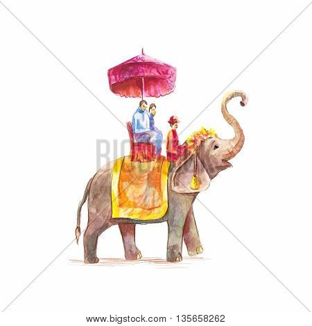 Watercolor hand-drawn illustration of tourists riding on an Asian elephant with mahout isolated on white