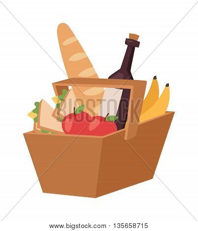 Picnic basket full of healthy organic fresh and natural food. Flat vector picnic product basket icon. Shop product basket retail store picnic handle basket.