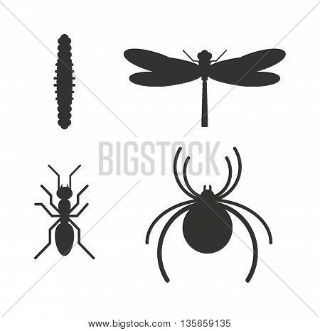 Insect icons black silhouette flat set isolated on white background. flat icons vector illustration. Nature flying insects isolated icons. Ladybird, butterfl beetle vector ant.
