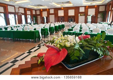 flower in conference room ready to meeting