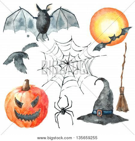 Watercolor Halloween set.Hand painting halloween symbols isolated on white background.