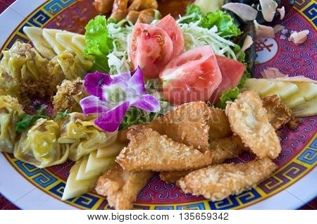 hors-d'oeuvre with eggs Chinese snacks vegetable spork