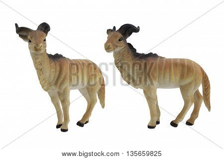 Isolated wild goat toy side and angle view.