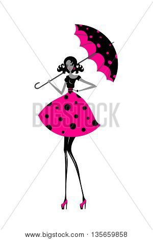 Isolated stylized girl in polka-dot dress with umbrella illustration.