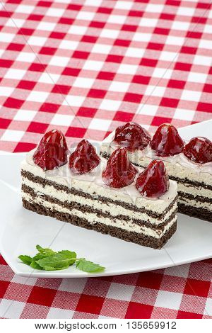 Vertical image of a strawberry cake with space for your text.