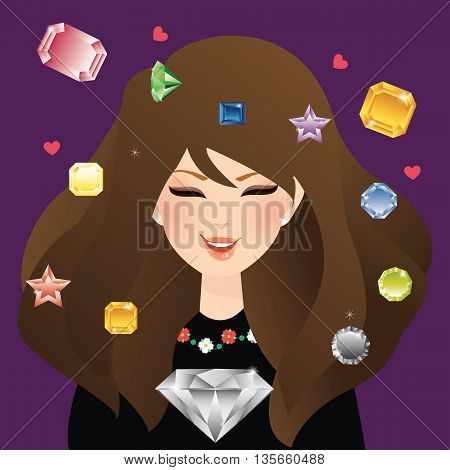 woman girl female smile with diamond crystal and gem stone flying around glamour jewels sapphire vector