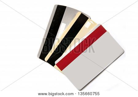 three blank credit card on white background