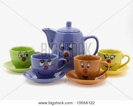 Kid's Tea Set With Curious Faces