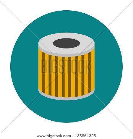 Car oil filter icon flat. Car repair service spare part