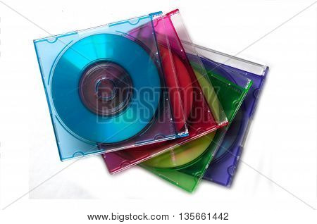 Mini cd over stack of color cd boxes