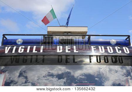 Written In The Italian Fire Truck With Italian Flag