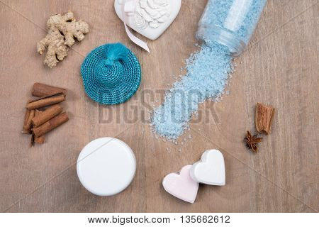 Sea Theme Items On A Wooden Background