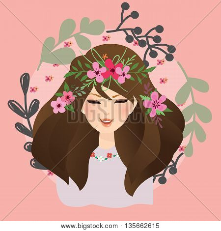 beautiful girls woman with flower around her head bohemian gypsy style vector