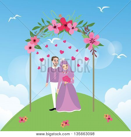 couple married Islam woman girl wearing veil marriage wedding vector
