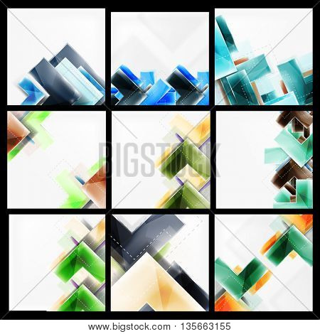 Set of abstract colorful backgrounds. Collection of web brochures, internet flyers, wallpaper or cover poster designs. Geometric style, colorful realistic glossy arrow shapes, blank templates with