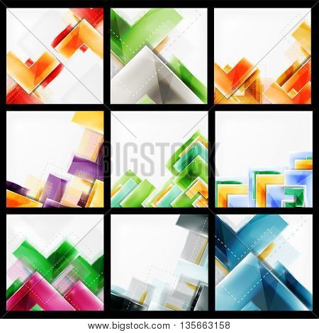 Set of 3d arrow backgrounds. Collection of web brochures, internet flyers, wallpaper or cover poster designs. Geometric style, colorful realistic glossy arrow shapes, blank templates with copyspace