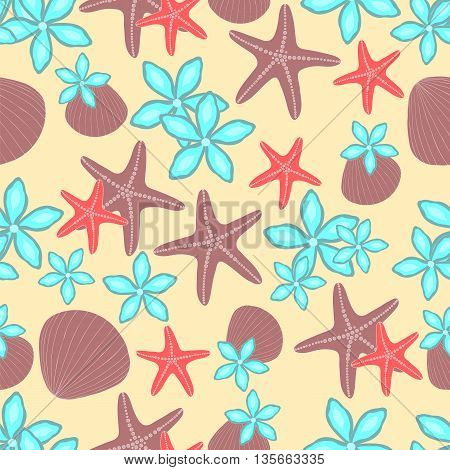 Beach seamless background. Starfish, seashells and flowers on the sand. Vector illustration.