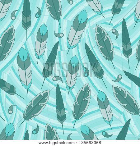 Blue feathers seamless pattern. Boho style. Vector illustration.