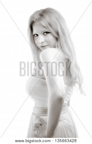 Head and shoulders of a gorgeous woman- Monochrome photo