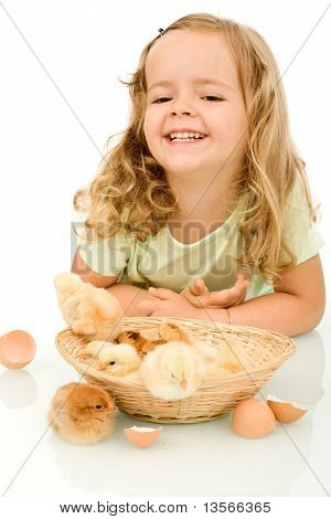 Happy Little Girl With Her Spring Fluffy Chickens