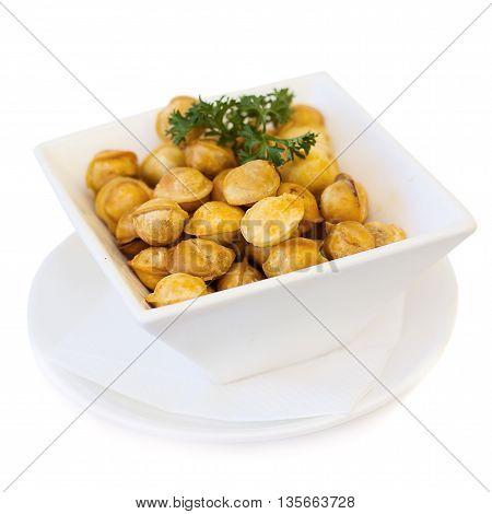 Very tasty Ravioli on white plate and white background