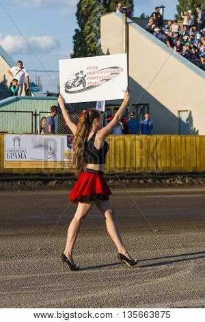 Rivne Ukraine - 29 August 2015: Pit lane girl during competitions at the Open Cup Speedway to the day of the city Rivne