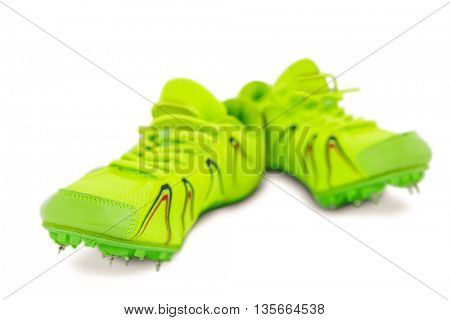 Pair of trainer shoes on isolated white background