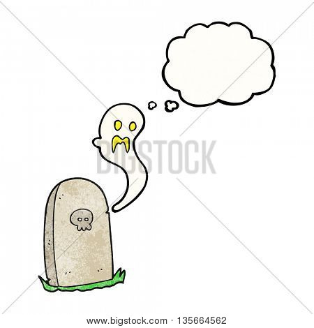 freehand drawn thought bubble textured cartoon ghost rising from grave