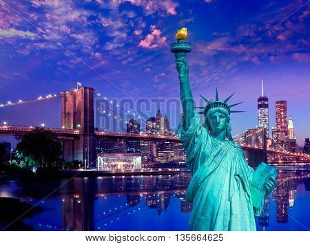 Liberty Statue and Brooklyn bridge New York American Symbols USA photomount