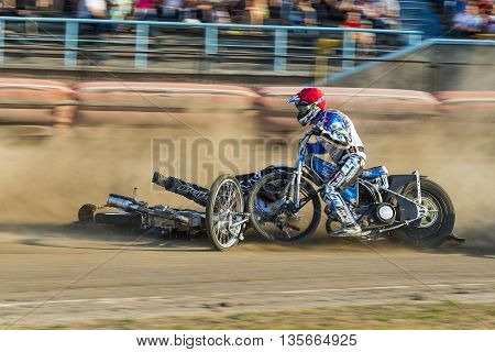 Rivne Ukraine - 29 August 2015: Unknown riders overcomes the track at the Open Cup Speedway to the day of the city Rivne